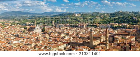 High resolution panoramic view of the city of Florence and its nearby hills