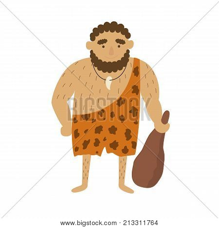 Stone age primitive man in animal hide pelt with big wooden club. Flat style vector illustration isolated on white background.