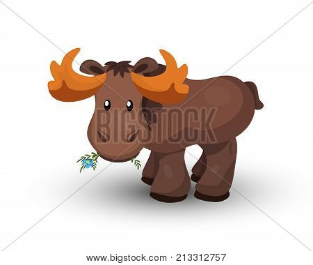 Moose, funny cartoon elk with flower, isolated on white background. Vector illustration