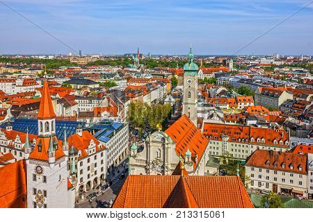Munich, Bavaria, Germany. Old Town architectural view