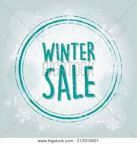 winter sale with snowflakes over blue drawn background business seasonal shopping concept banner