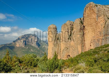 Landscape with Mallos de Riglos, aguero and Murillo de Gallego in Huesca, Spain