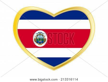 Costa Rican national official flag. Patriotic symbol banner element background. Correct colors. Flag of Costa Rica in heart shape isolated on white background. Golden frame. Vector