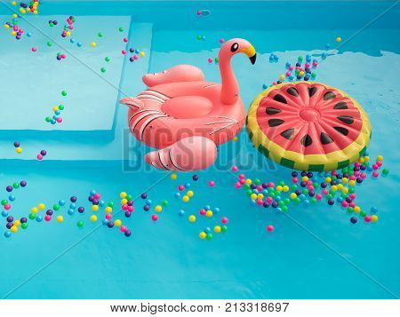 Giant Flamingo and watermelon Pool Float in swimming pool