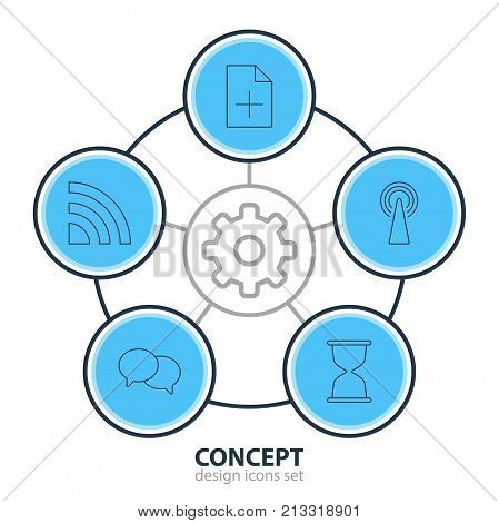 Editable Pack Of Talking, Document Adding, Sandglass Elements.  Vector Illustration Of 5 Web Outline Icons.