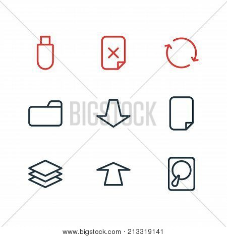Editable Pack Of Synchronize, Dossier, Downward And Other Elements.  Vector Illustration Of 9 Archive Outline Icons.
