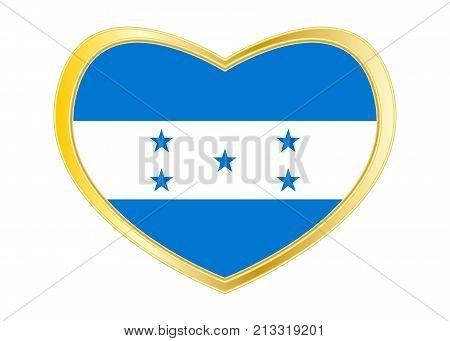 Honduran national official flag. Republic of Honduras patriotic symbol banner element background. Correct colors. Flag of Honduras in heart shape isolated on white background. Golden frame. Vector