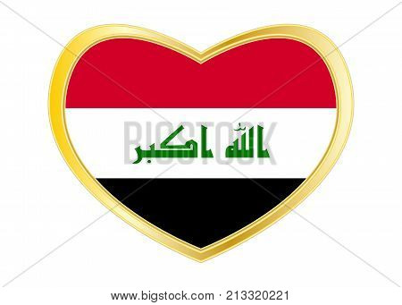 Iraqi national official flag. Irak patriotic symbol element background. Iraki banner. Correct colors. Flag of Iraq in heart shape isolated on white background. Golden frame. Vector