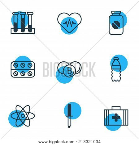 Editable Pack Of Painkiller, Pills, Medical Bag And Other Elements.  Vector Illustration Of 9 Medicine Outline Icons.