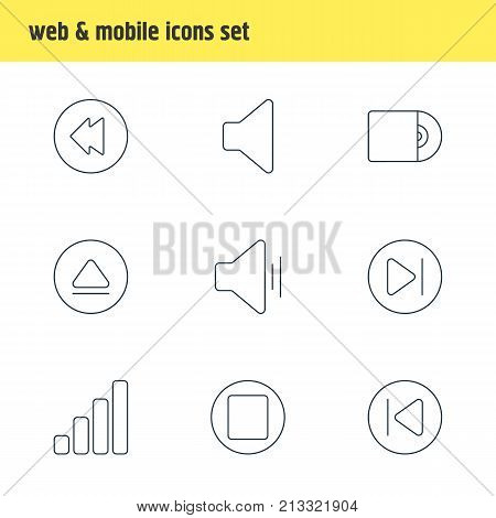 Editable Pack Of Pause, Rewind, Preceding And Other Elements.  Vector Illustration Of 9 Melody Outline Icons.