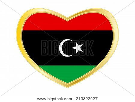 Libyan national official flag. African patriotic symbol banner element background. Correct colors. Flag of Libya in heart shape isolated on white background. Golden frame. Vector