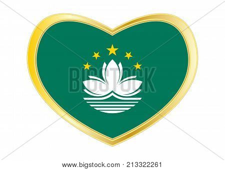Macanese official flag. Patriotic chinese symbol banner element. Macau is special region of PRC. Correct colors. Flag of Macau in heart shape isolated on white background. Golden frame. Vector