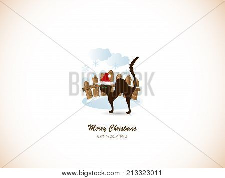 Wooden fence, snowflakes and cat - Christmas card
