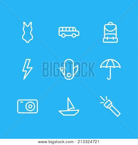 Editable Pack Of Transportation, Photo Apparatus, Flashlight And Other Elements.  Vector Illustration Of 9 Camping Outline Icons.