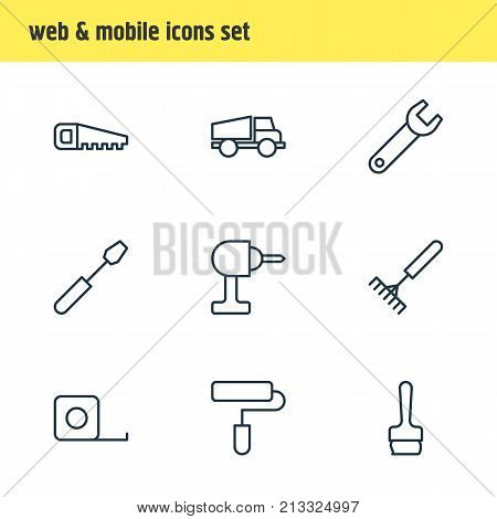 Editable Pack Of Hacksaw, Harrow, Paintbrush And Other Elements.  Vector Illustration Of 9 Structure Outline Icons.