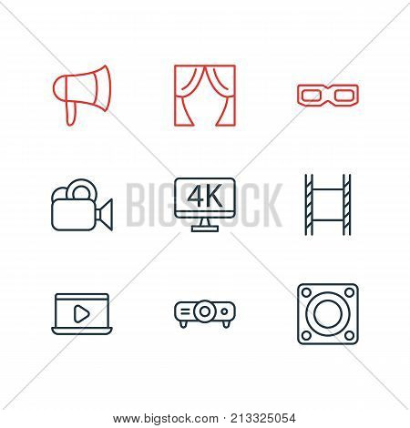 Editable Pack Of Spectacles, Filmstrip, Resolution And Other Elements.  Vector Illustration Of 9 Film Outline Icons.