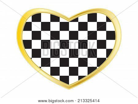 Checkered racing flag. Symbolic design of end of car race. Black and white background. Checkered flag in heart shape isolated on white background. Golden frame. Vector