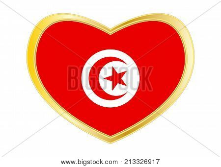 Tunisian national official flag. African patriotic symbol banner element background. Correct colors. Flag of Tunisia in heart shape isolated on white background. Golden frame. Vector