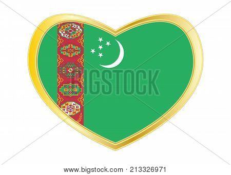 Turkmen national official flag. Patriotic symbol banner element background. Correct colors. Flag of Turkmenistan in heart shape isolated on white background. Golden frame. Vector