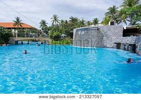 Kota Kinabalu, Malaysia - February 18, 2017: Swimming Pool At Shangri-la Hotel And Resort In Sabah B