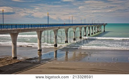 New Brighton pier at the daylight in Christchurch, New Zealand