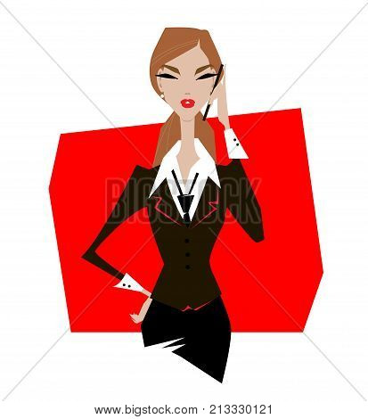 Stylish businesswoman. Stylish businesswoman. Woman in suit with briefcase talking on phone.