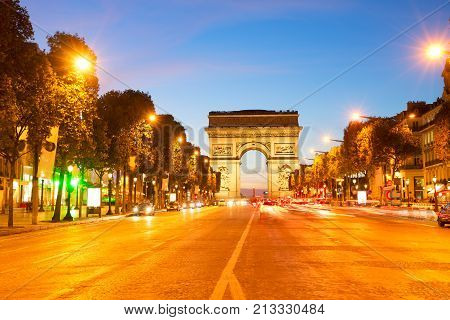 Arc de Triomphe and Champ Elysees at night, Paris, France