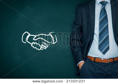 Win-win partnership strategy concept. Businessman present win-win scheme with handshake partnership agreement.
