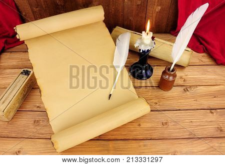 Old paper scroll unrolled with no text and feather quill pens poster