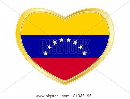 Venezuelan national official flag. Bolivarian Republic of Venezuela patriotic symbol banner element. Correct colors. Flag of Venezuela in heart shape isolated on white background. Gold frame. Vector