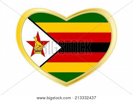 Zimbabwean national official flag. African patriotic symbol banner element background. Correct colors. Flag of Zimbabwe in heart shape isolated on white background. Golden frame. Vector