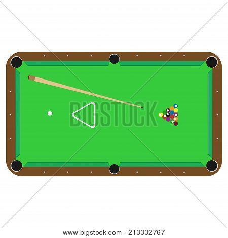 Table pool billiard vector. Sport cue ball snooker illustration isolated