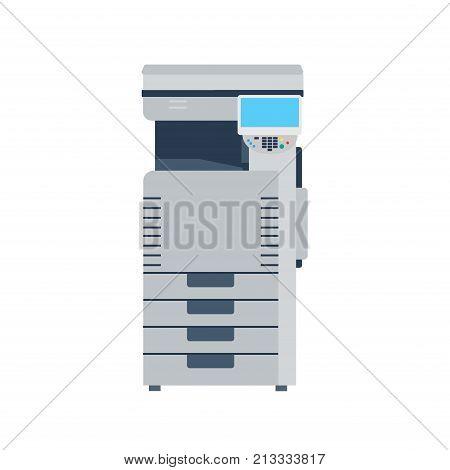 Printer machine photocopier copy office. Photocopy vector copier icon paper illustration print isolated