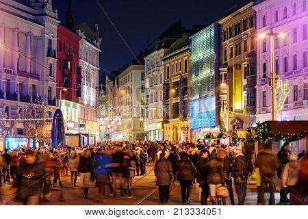 Brno Czech Republic - December 4 2016: Christmas celebration in old town of Brno Czech Republic in the evening on December 4 2016 Brno Czech Republic