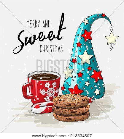 Winter holiday theme, red cup of coffee with stack of cookies, candy cane and abstract christmas tree, with text Merry and sweet Christmas on bright white background, vector illustration, eps 10 with transparency