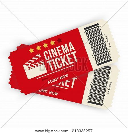 Two cinema tickets isolated on background. Realistic cinema or movie tickets template. Vector