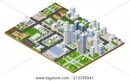 Isometric urban megalopolis top view of the city infrastructure town street modern real structure architecture 3d elements different buildings