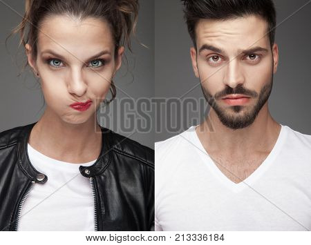 man and woman making funny faces, on grey background, collage image