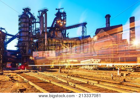 Blast furnace equipment of the metallurgical plant at night