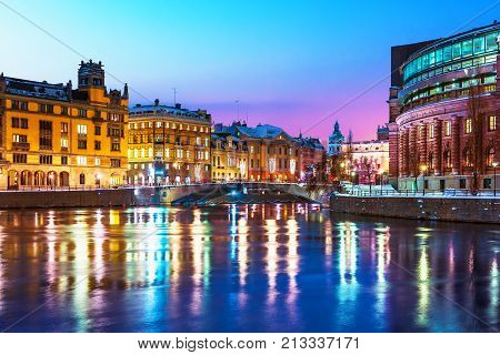 Winter night scenery of the Old Town (Gamla Stan) in Stockholm, Sweden