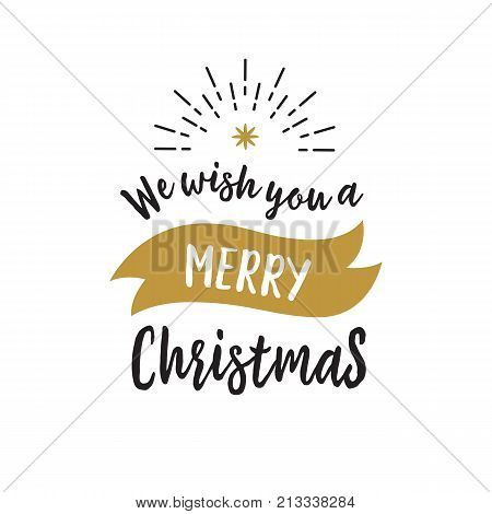 We Wish You Merry Christmas lettering. Christmas design element with ribbon and rays. Handwritten and typed text, calligraphy. For greeting cards, posters, leaflets and brochure.
