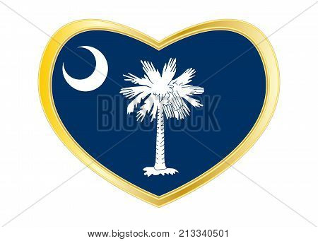 Flag of the US state of South Carolina. American patriotic element. USA banner. United States of America symbol. South Carolinian flag in heart shape isolated on white background. Golden frame. Vector