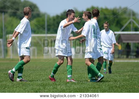 KAPOSVAR, HUNGARY - JUNE 11: Kaposvar players celebrate at the Hungarian National Championship under 17 game between Kaposvari Rakoczi FC and Bajai LSE on June 11, 2011 in Kaposvar, Hungary.