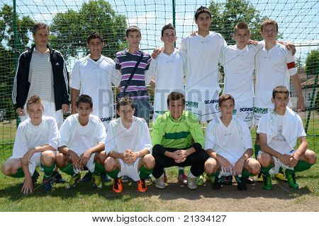 KAPOSVAR, HUNGARY - JUNE 11: Kaposvar Team pose for photos after the Hungarian National Championship under 17 game between Kaposvari Rakoczi FC and Bajai LSE on June 11, 2011 in Kaposvar, Hungary.