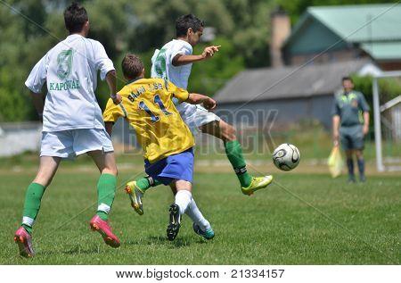 KAPOSVAR, HUNGARY - JUNE 11: Zoltan Kreisz (11) in action at the Hungarian National Championship under 17 game between Kaposvari Rakoczi FC and Bajai LSE on June 11, 2011 in Kaposvar, Hungary.