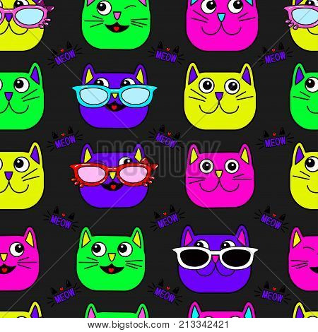 Abstract seamless cat pattern for girls boys clothes. Creative vector background with cat glasses eyes mustache. Funny cat wallpaper for textile and fabric. Fashion pattern style. Colorful bright