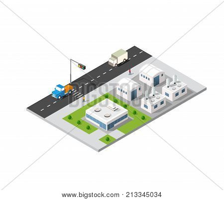 City boulevard isometric avenue. Transport car urban and asphalt traffic. Crossing roads flat 3d dimensional illustration of public town transport.