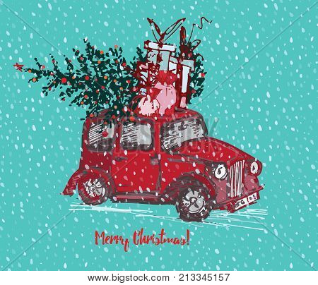 Festive Christmas card. Red taxi cab with fir tree decorated red balls and gifts on roof. White snowy seamless background and text Merry Christmas. Vector illustrations