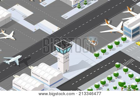 Isometric 3D airport dimensional illustration with jet airplane parking hotel waiting hall. Aircraft runway airline terminal transportation