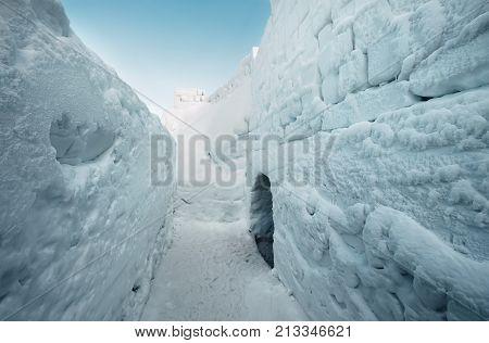 Walls in snow labirinth , Zakopane, Poland